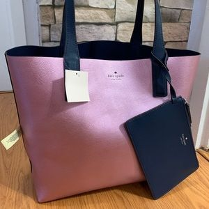 Authentic Kate Spade leather reversible tote/Pouch